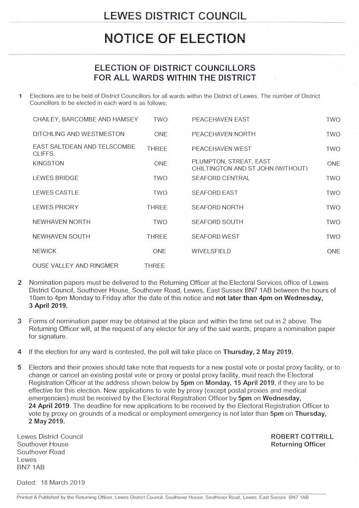 Notice of Election – Election of District Councillors for all Wards within the District