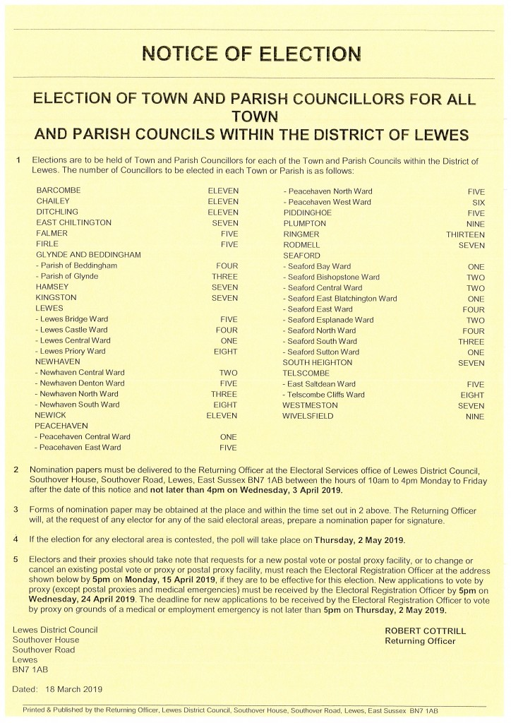 Notice of Election – Election of Town and Parish Councillors for all Town and Parish Councils within the District of Lewes
